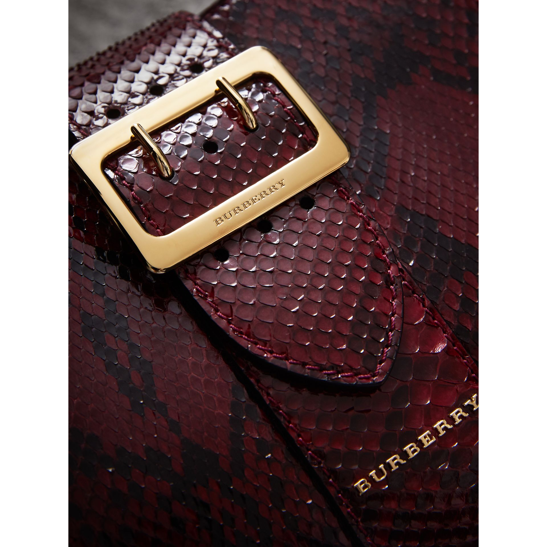 The Small Buckle Tote in Python in Burgundy Red - Women | Burberry United Kingdom - gallery image 1