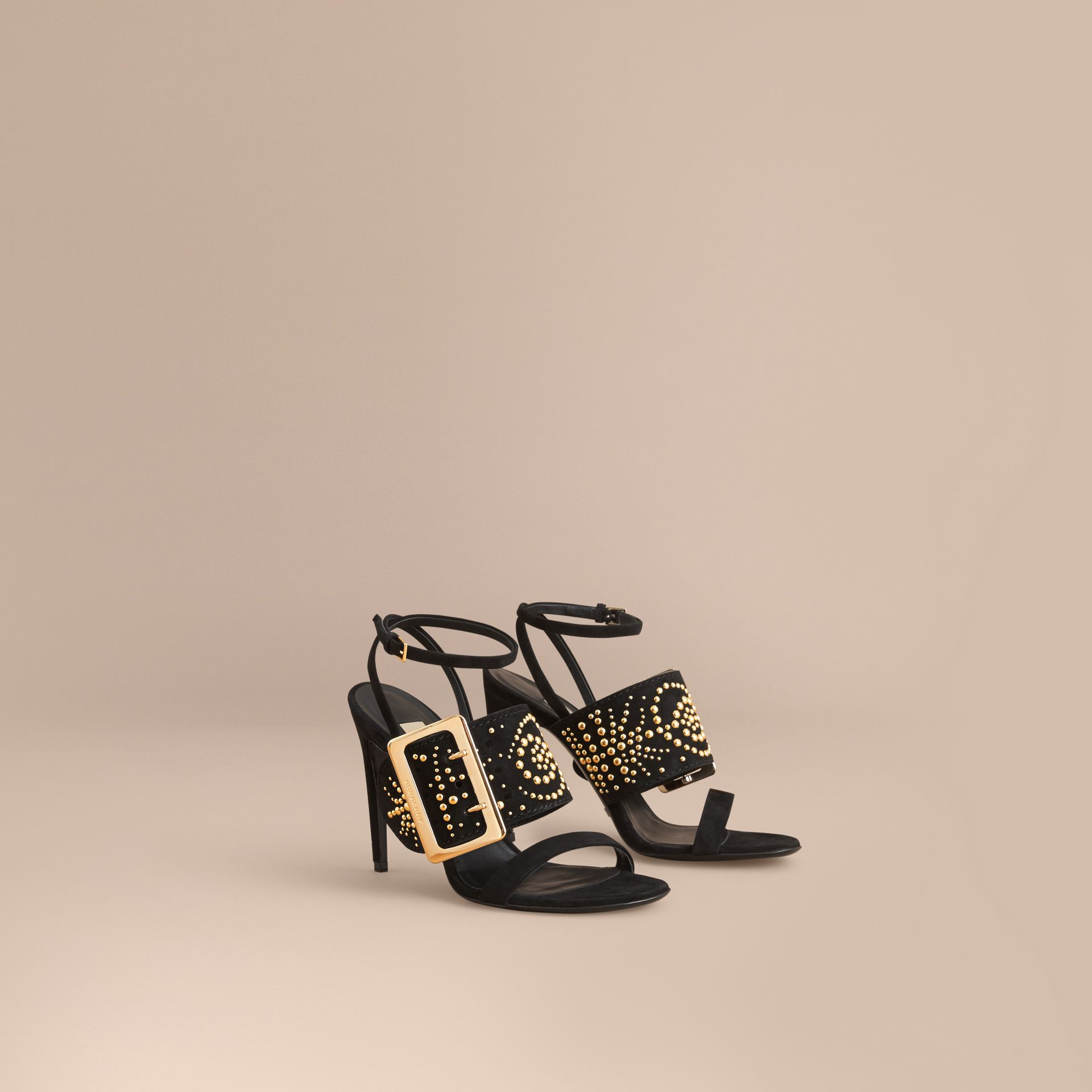 Riveted Suede Sandals with Buckle Detail in Black - Women | Burberry - gallery image 0