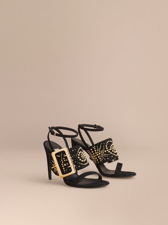 Riveted Suede Sandals with Buckle Detail Black