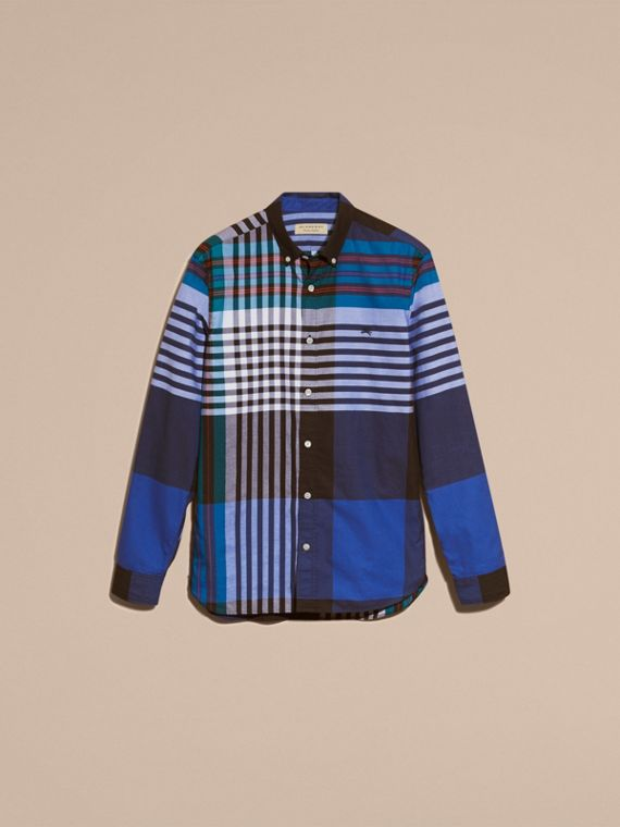 Graphic Tartan Cotton Shirt in Brilliant Blue - cell image 3