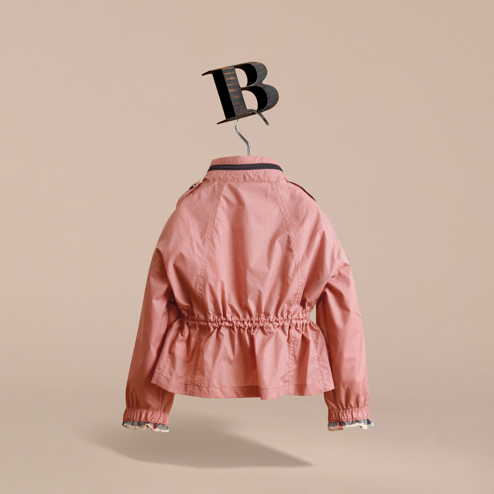 Packaway Hood Showerproof Jacket with Check Detail in Rose Pink - Girl | Burberry - gallery image 4