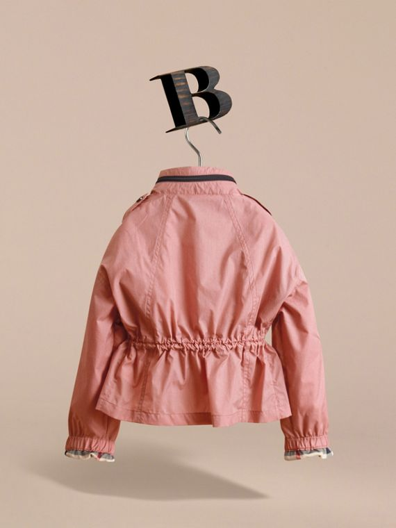 Packaway Hood Showerproof Jacket with Check Detail in Rose Pink - Girl | Burberry - cell image 3