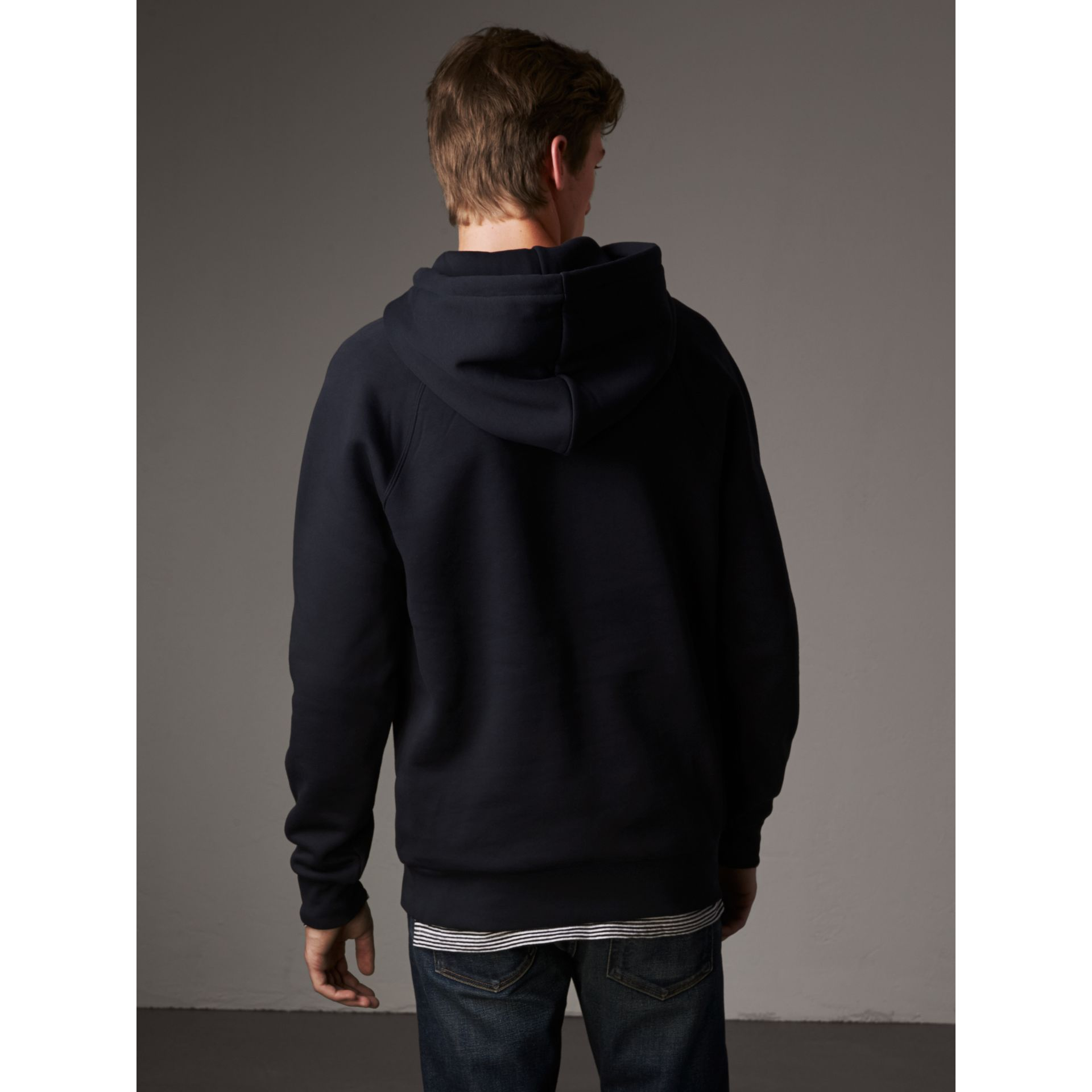 Embroidered Hooded Sweatshirt in Navy - Men | Burberry - gallery image 3