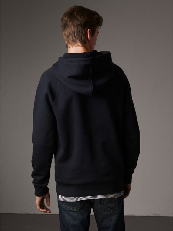 Embroidered Hooded Sweatshirt in Navy - Men | Burberry United Kingdom - cell image 2
