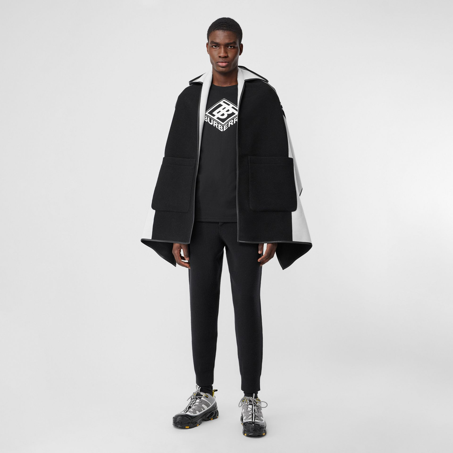 Logo Graphic Wool Cotton Jacquard Hooded Cape in Black/white | Burberry United States - gallery image 0