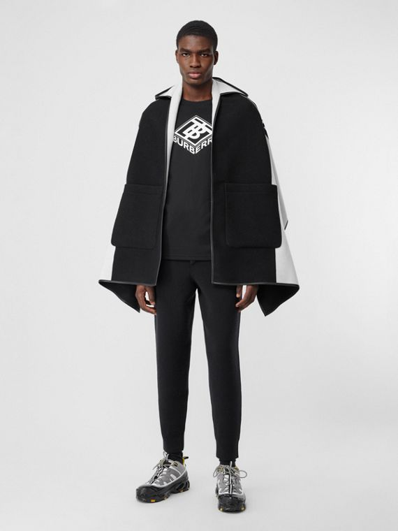 Logo Graphic Wool Cotton Jacquard Hooded Cape in Black/white