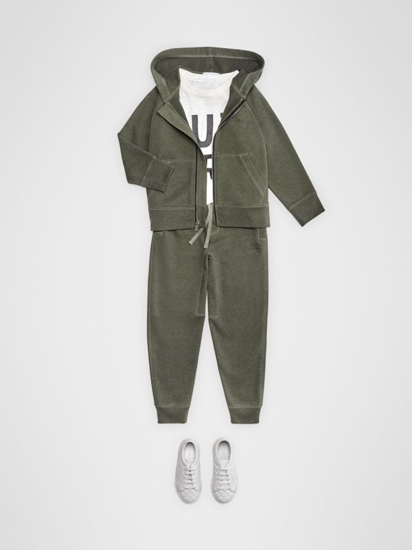 Cotton Jersey Trackpants in Olive Melange | Burberry Canada - cell image 2