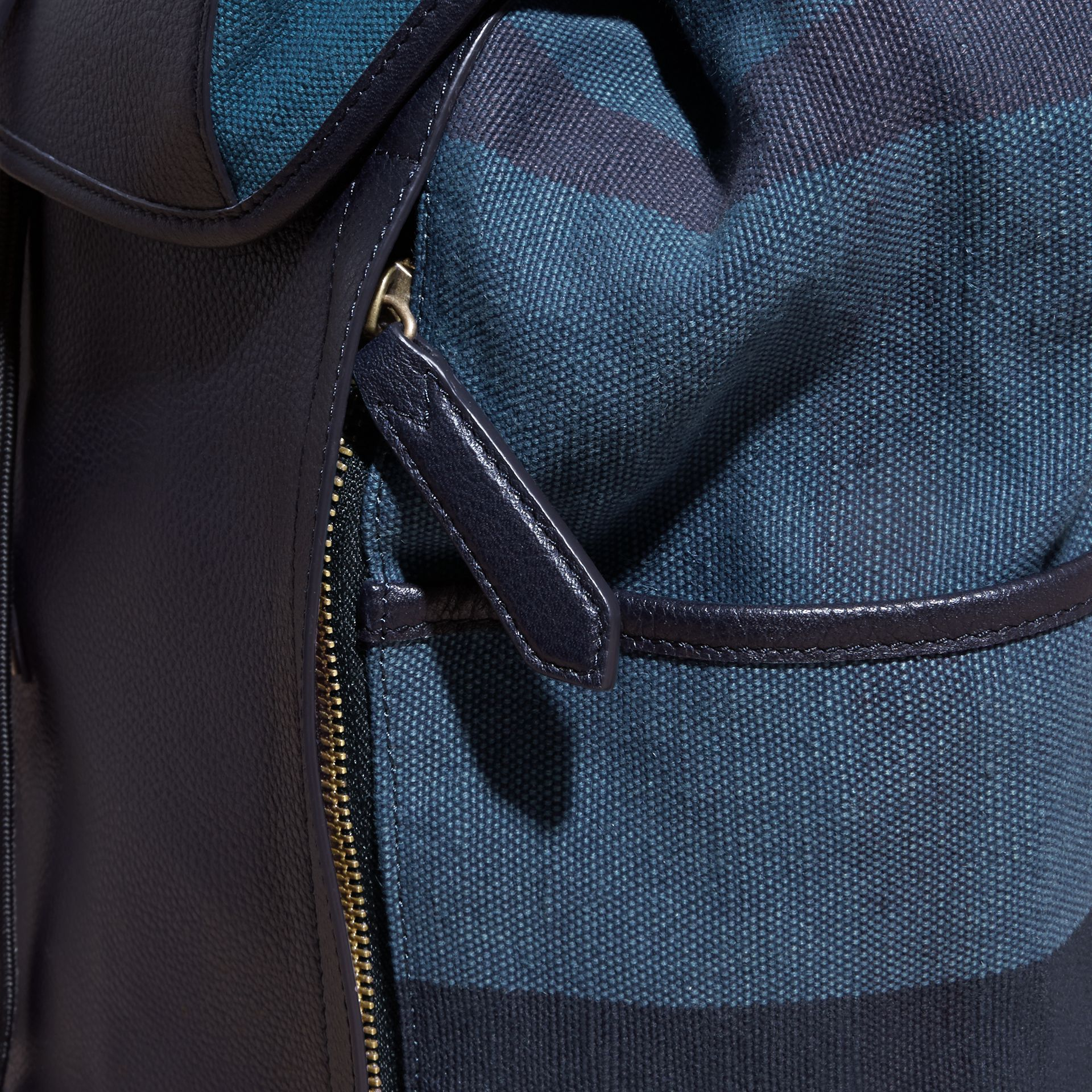 Ultramarine blue Leather and Overdyed Canvas Check Backpack - gallery image 6