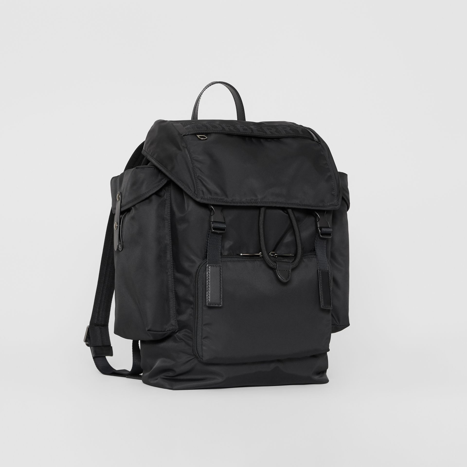 Large Leather Trim Nylon Backpack in Black | Burberry - gallery image 7