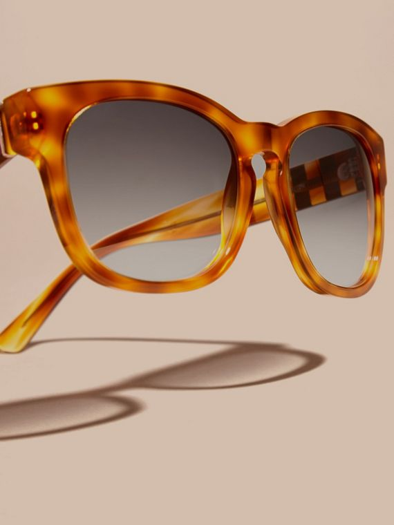 Light russet brown Check Detail Square Frame Sunglasses - cell image 2