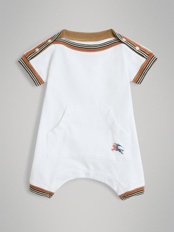 Heritage Stripe Cotton Piqué Two-piece Baby Gift Set in White - Children | Burberry Singapore - cell image 2
