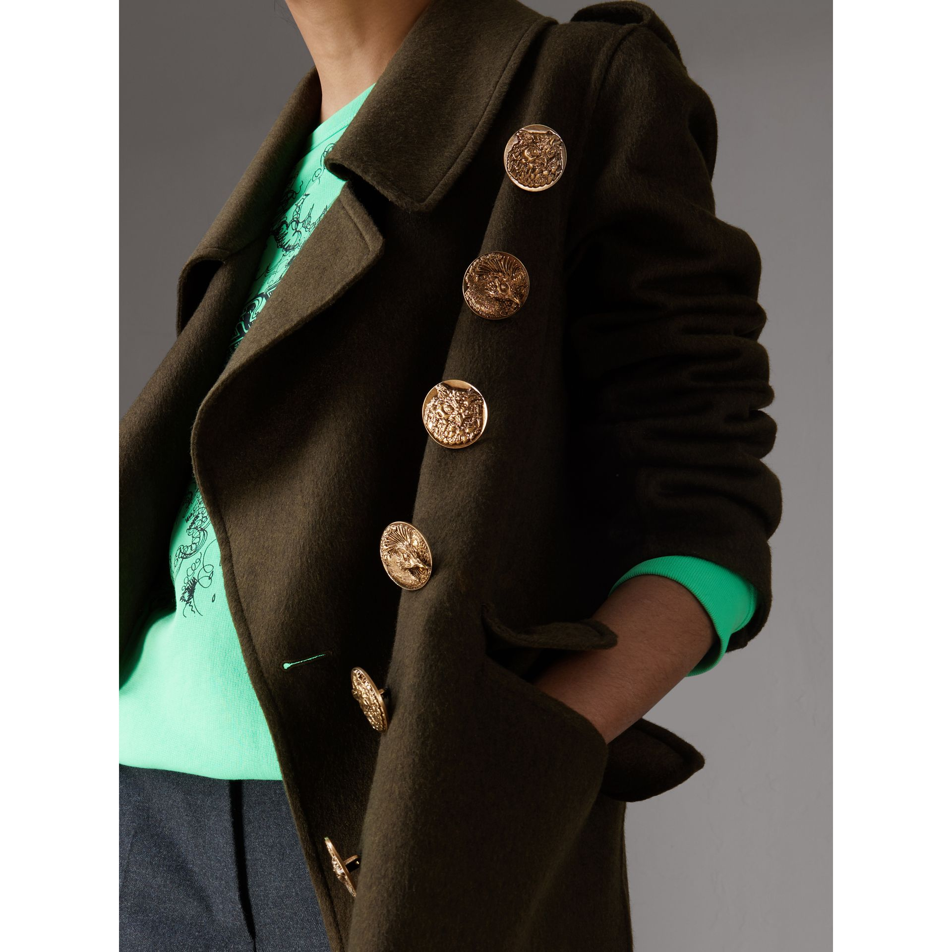 Bird Button Cashmere Wool Military Coat in Dark  Green - Women | Burberry - gallery image 1