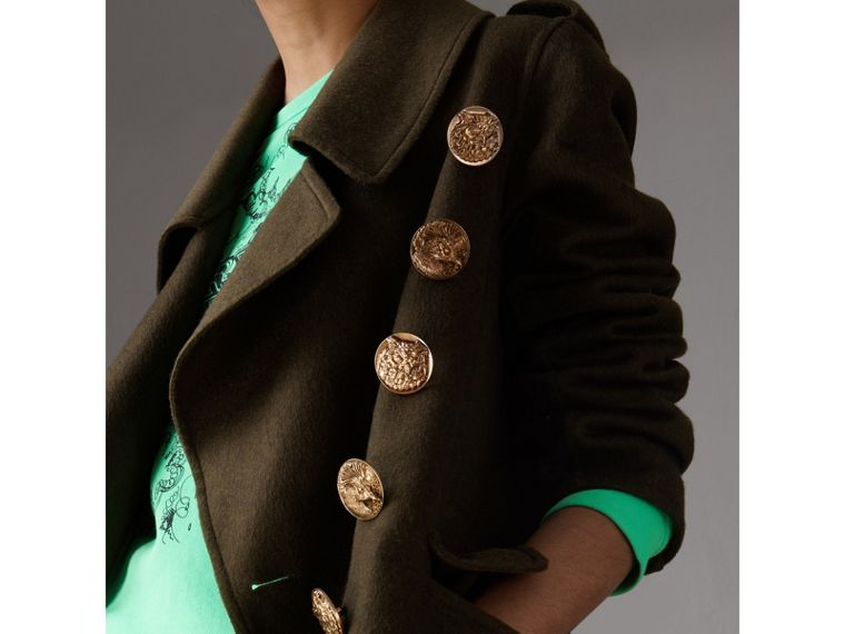 Bird Button Cashmere Wool Military Coat in Dark  Green - Women | Burberry Canada - cell image 1