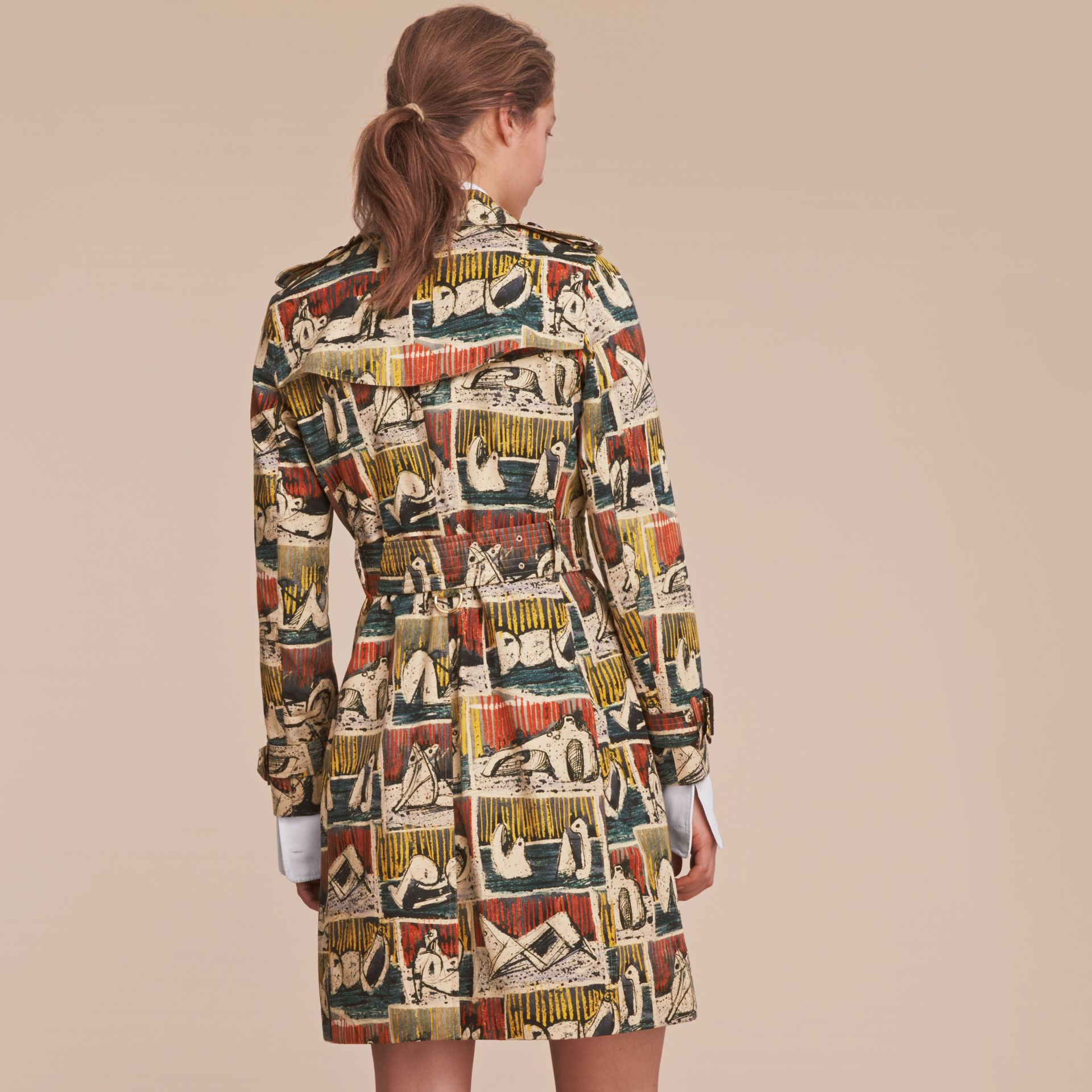 Reclining Figures Print Cotton Trench Coat - gallery image 3