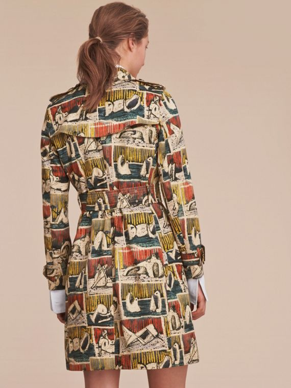 Reclining Figures Print Cotton Trench Coat in Stone Blue - Women | Burberry - cell image 2