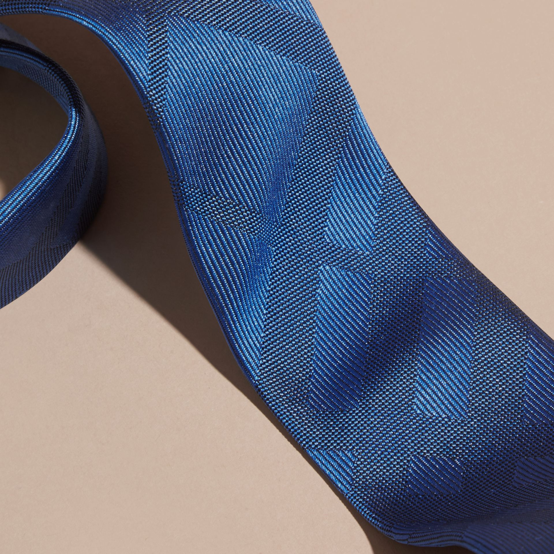 Bright hydrangea blue Slim Cut Check Silk Tie - gallery image 2