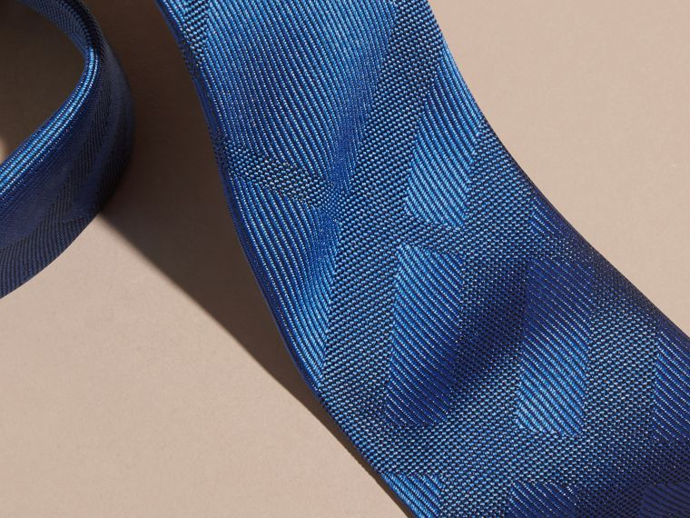 Bright hydrangea blue Slim Cut Check Silk Tie - cell image 1