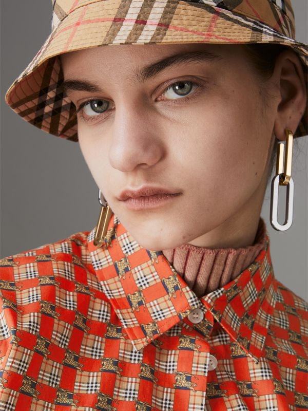 Gold and Palladium-plated Link Drop Earrings in Light Gold/palladio - Women | Burberry - cell image 2