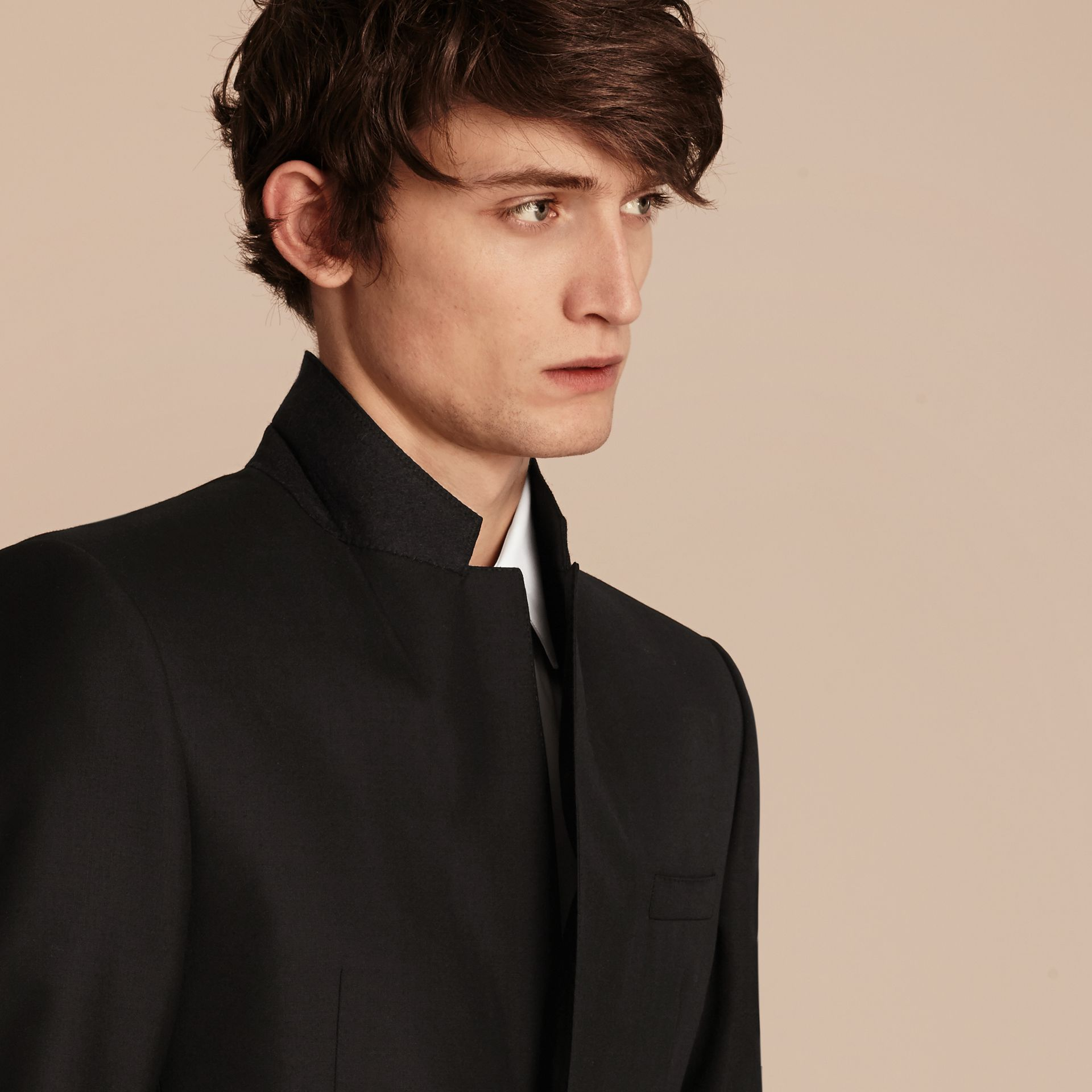 Modern Fit Wool Part-canvas Suit in Black - gallery image 7