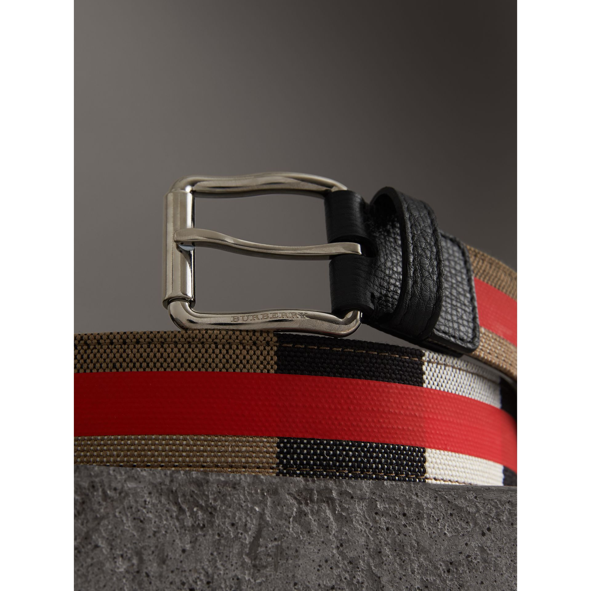 Striped Check Jute Cotton Belt in Military Red - Men | Burberry United States - gallery image 1