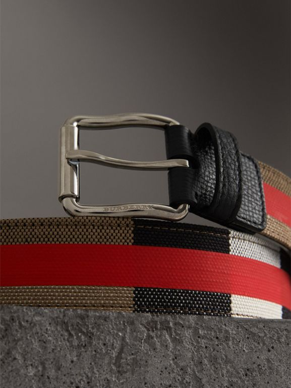 Striped Check Jute Cotton Belt in Military Red - Men | Burberry United Kingdom - cell image 1