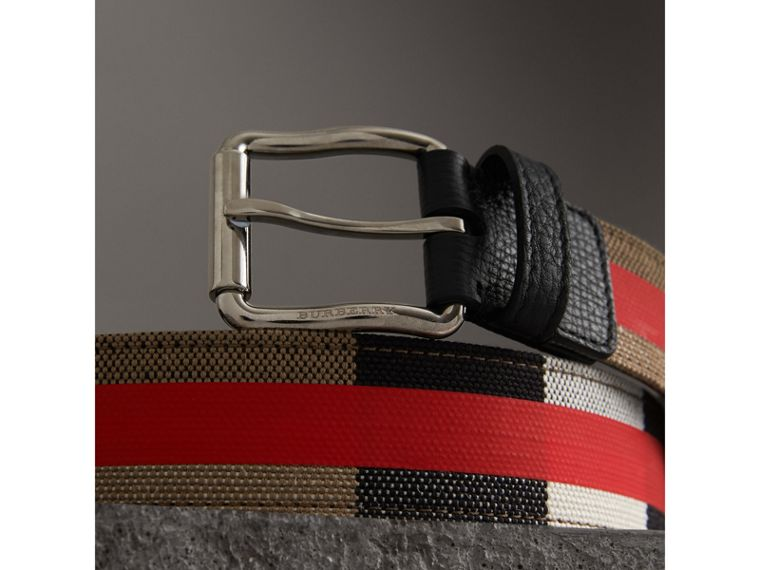 Striped Check Jute Cotton Belt in Military Red - Men | Burberry - cell image 1