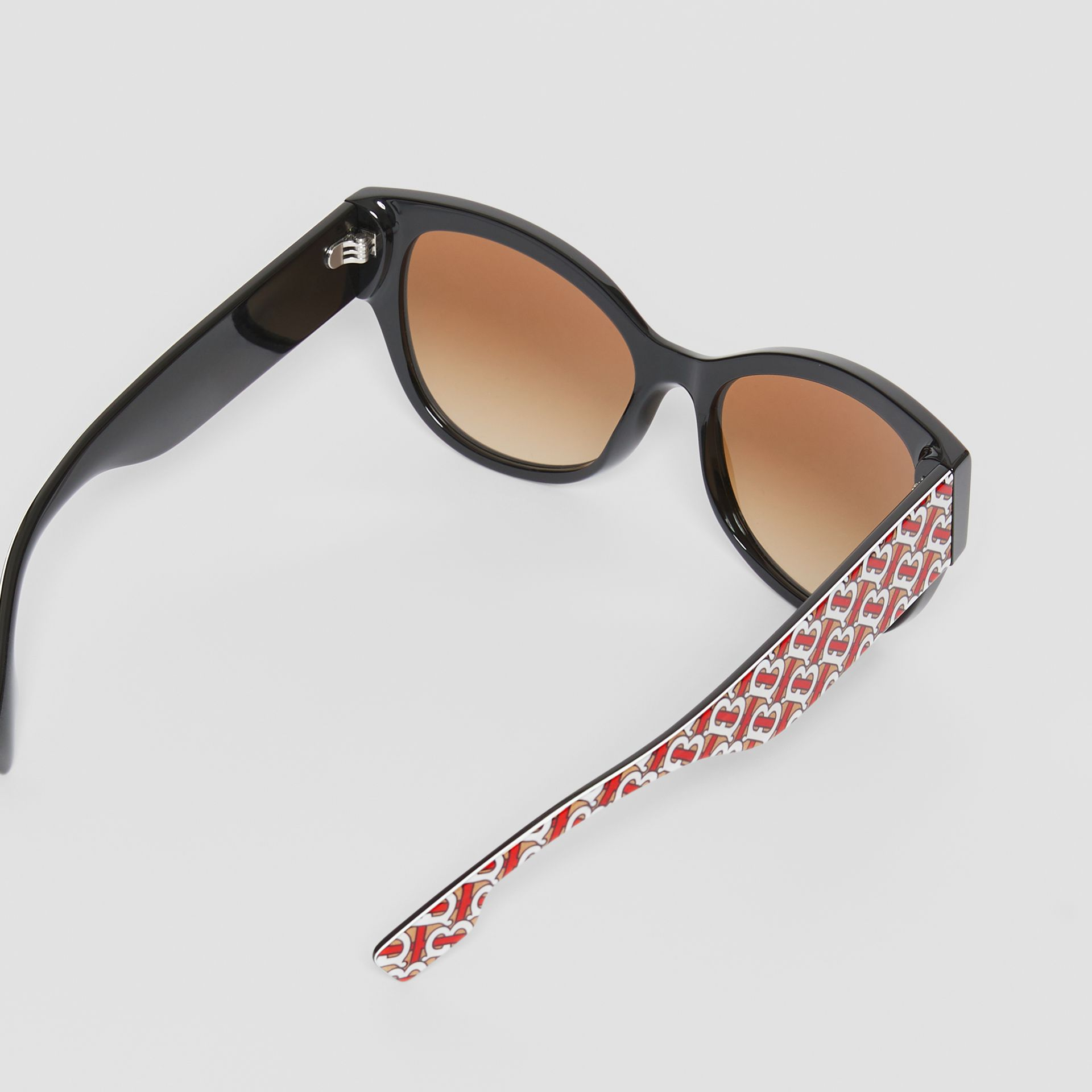 Monogram Detail Butterfly Frame Sunglasses in Black/vermillion - Women | Burberry - gallery image 3