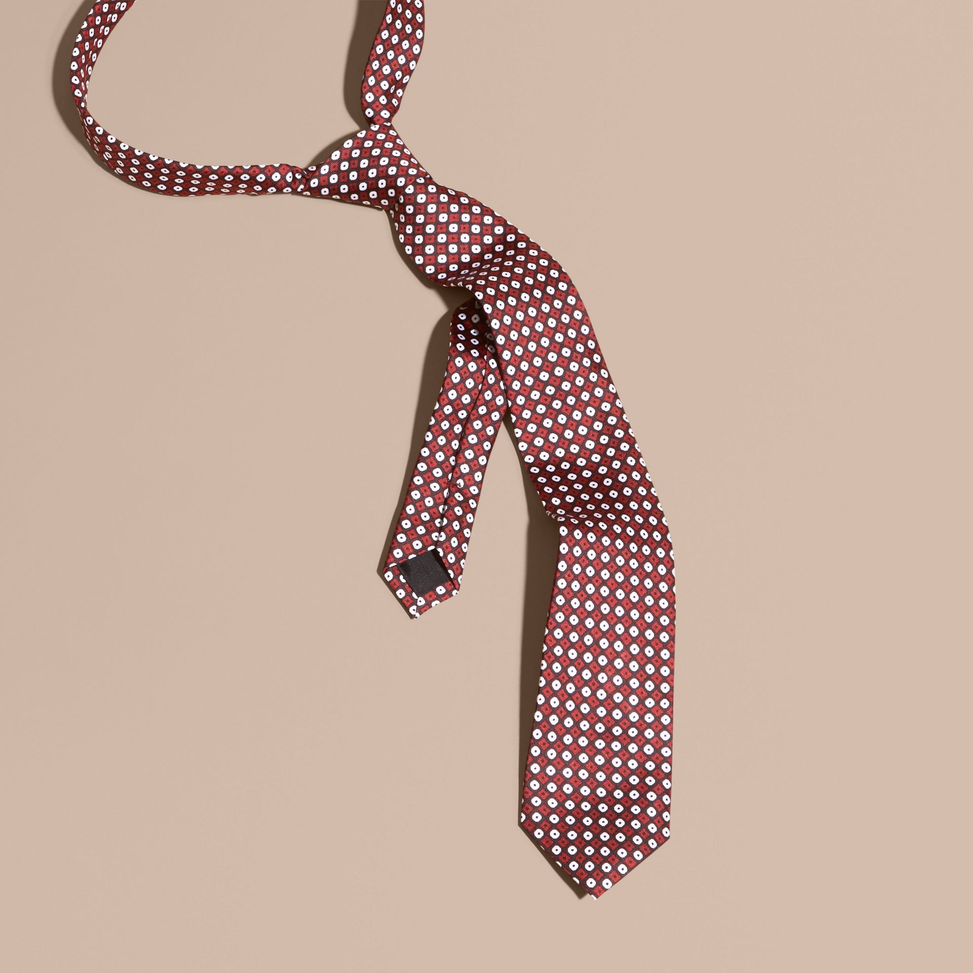 Dark elderberry Slim Cut Geometric Print Silk Tie - gallery image 1