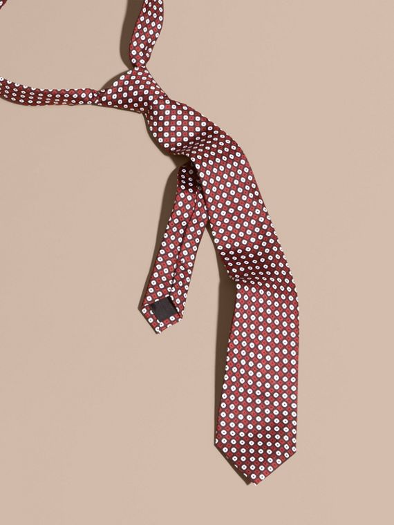 窄版剪裁幾何印花絲質領帶