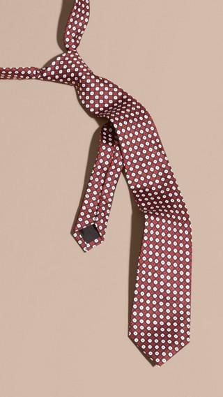Cravate fine en soie à imprimé géométrique
