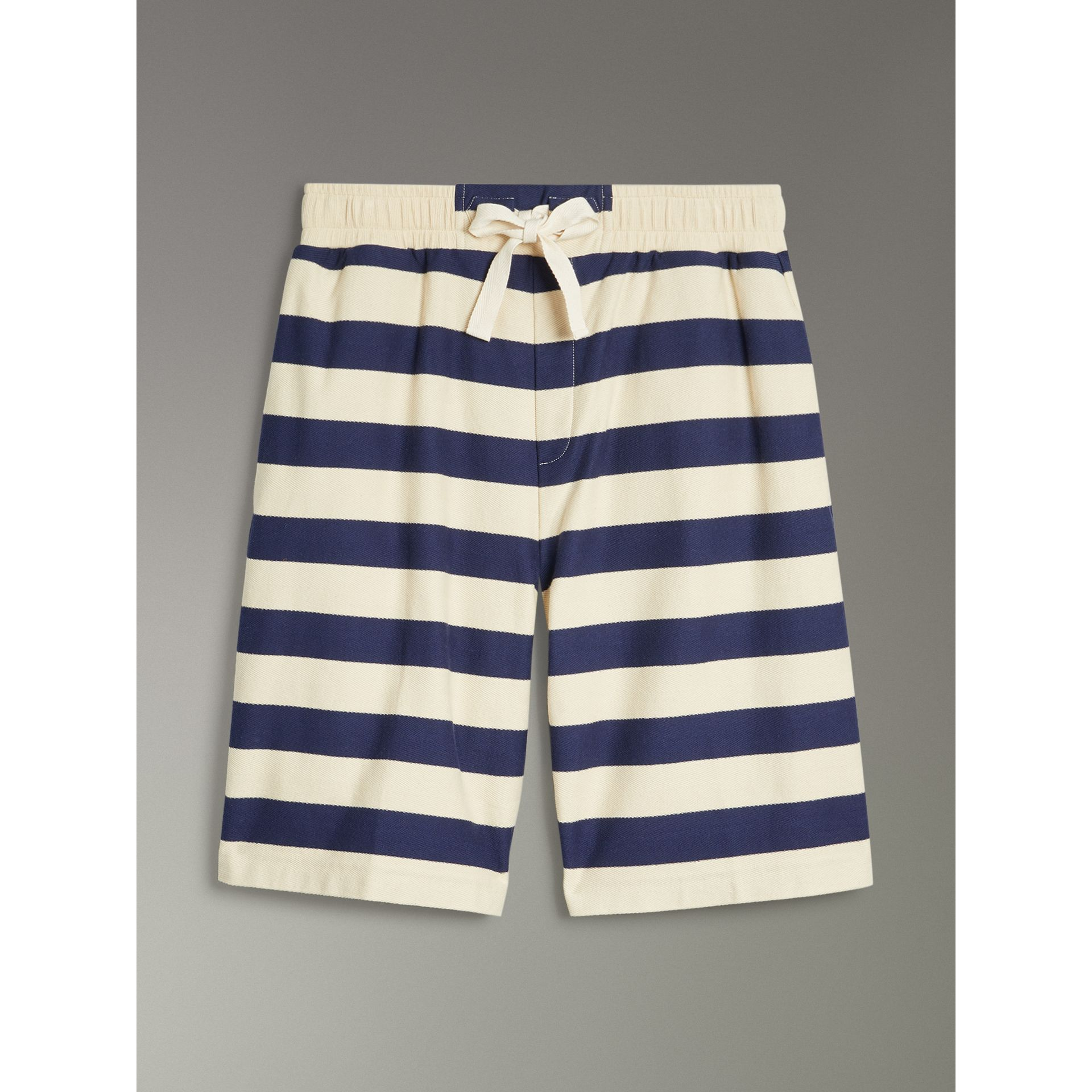 Striped Cotton Shorts in Off White/navy - Men | Burberry Singapore - gallery image 2