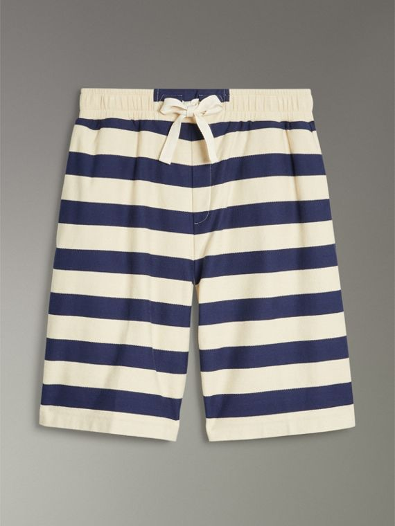 Striped Cotton Shorts in Off White/navy - Men | Burberry United States - cell image 2