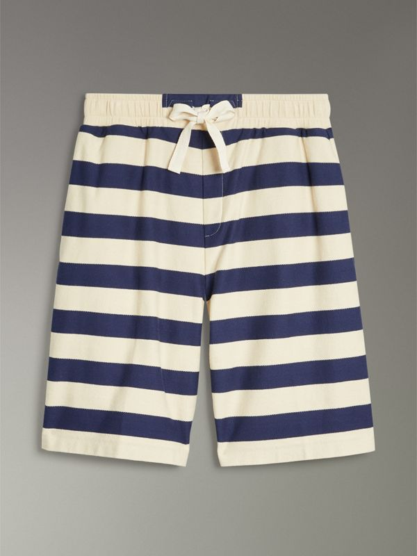 Striped Cotton Shorts in Off White/navy - Men | Burberry Singapore - cell image 2