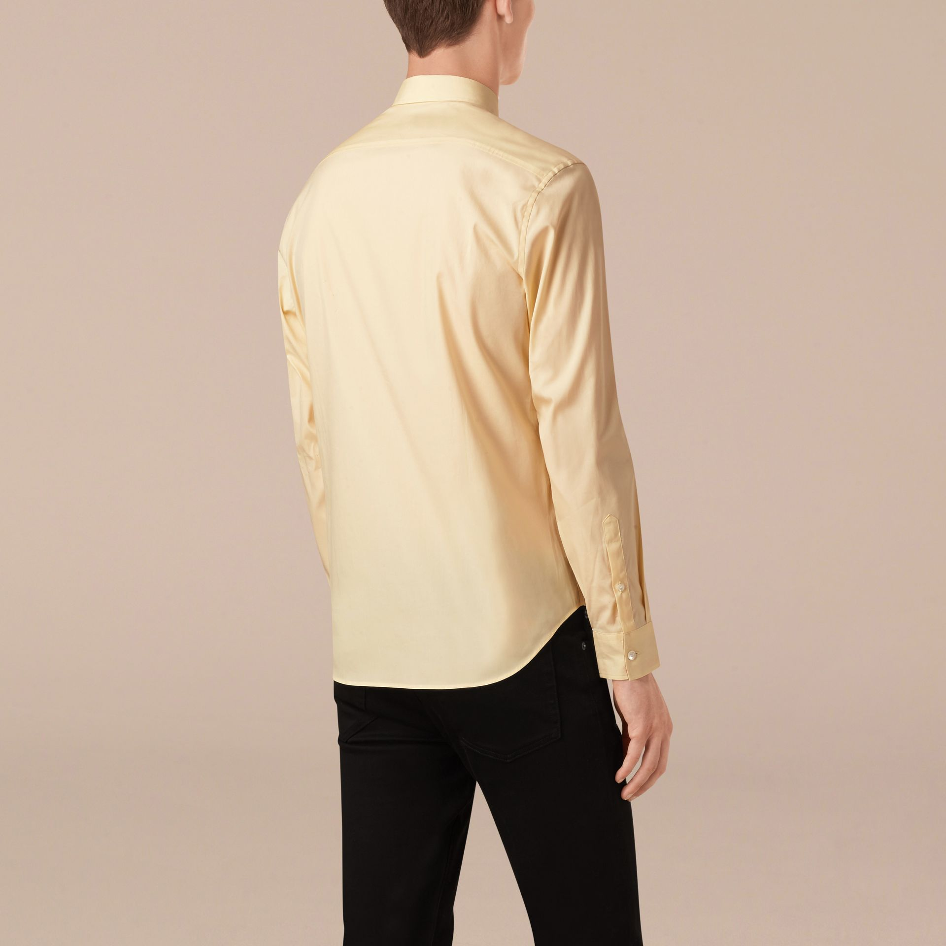 Pale yellow Check Detail Stretch Cotton Poplin Shirt Pale Yellow - gallery image 2
