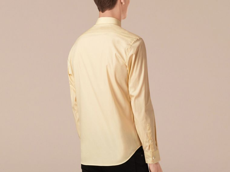 Pale yellow Check Detail Stretch Cotton Poplin Shirt Pale Yellow - cell image 1