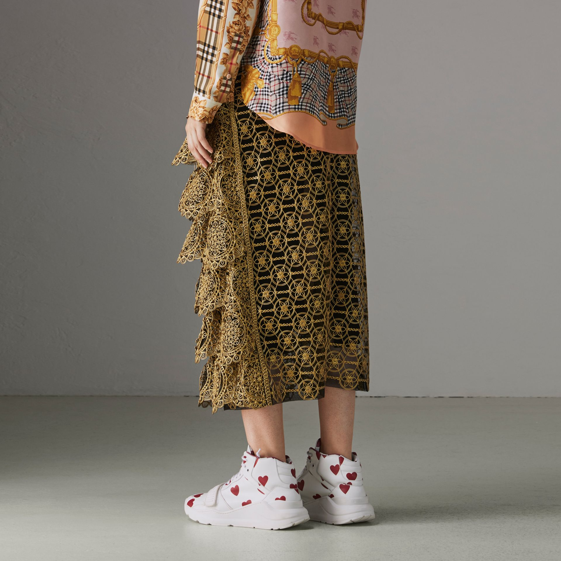 Tiered Silicone Lace Skirt in Gold - Women | Burberry Singapore - gallery image 2