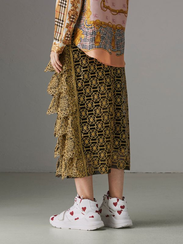 Tiered Silicone Lace Skirt in Gold - Women | Burberry - cell image 2