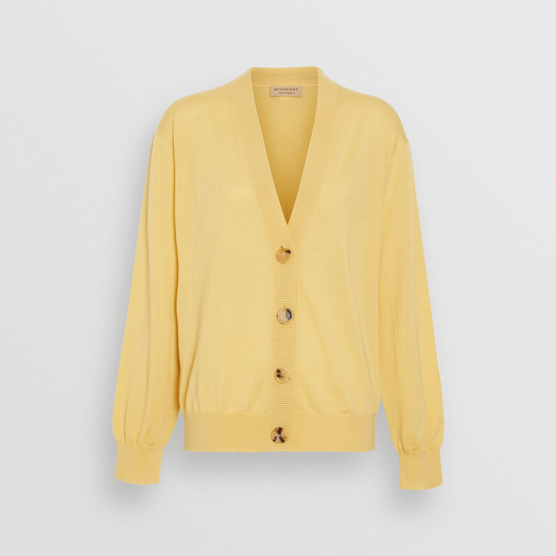 Logo Detail Merino Wool Cardigan in Primrose Yellow - Women | Burberry - gallery image 3