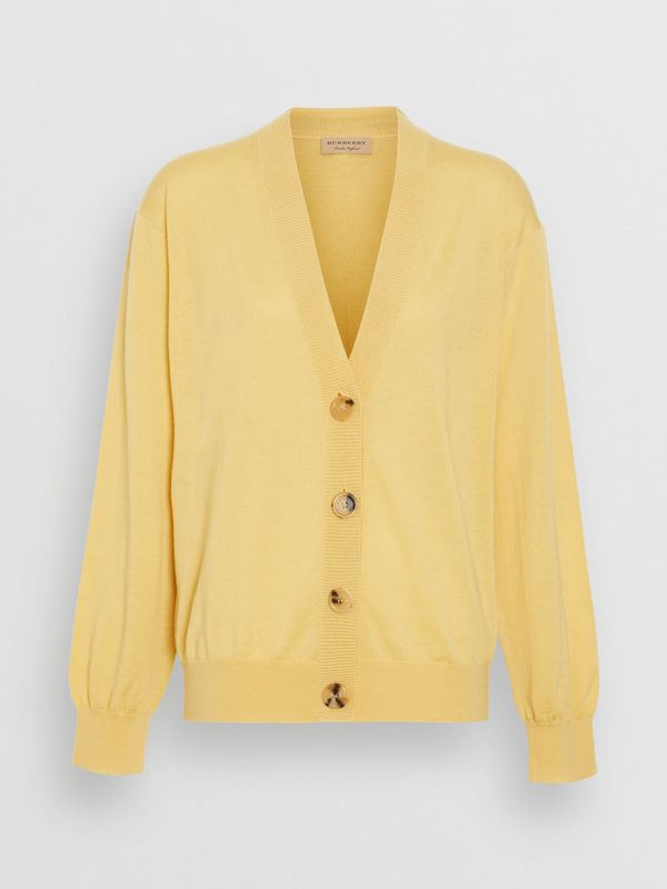 Logo Detail Merino Wool Cardigan in Primrose Yellow - Women | Burberry - cell image 3