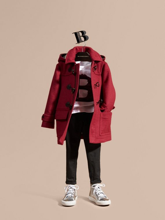 Wool Duffle Coat with Check-lined Hood Claret Pink