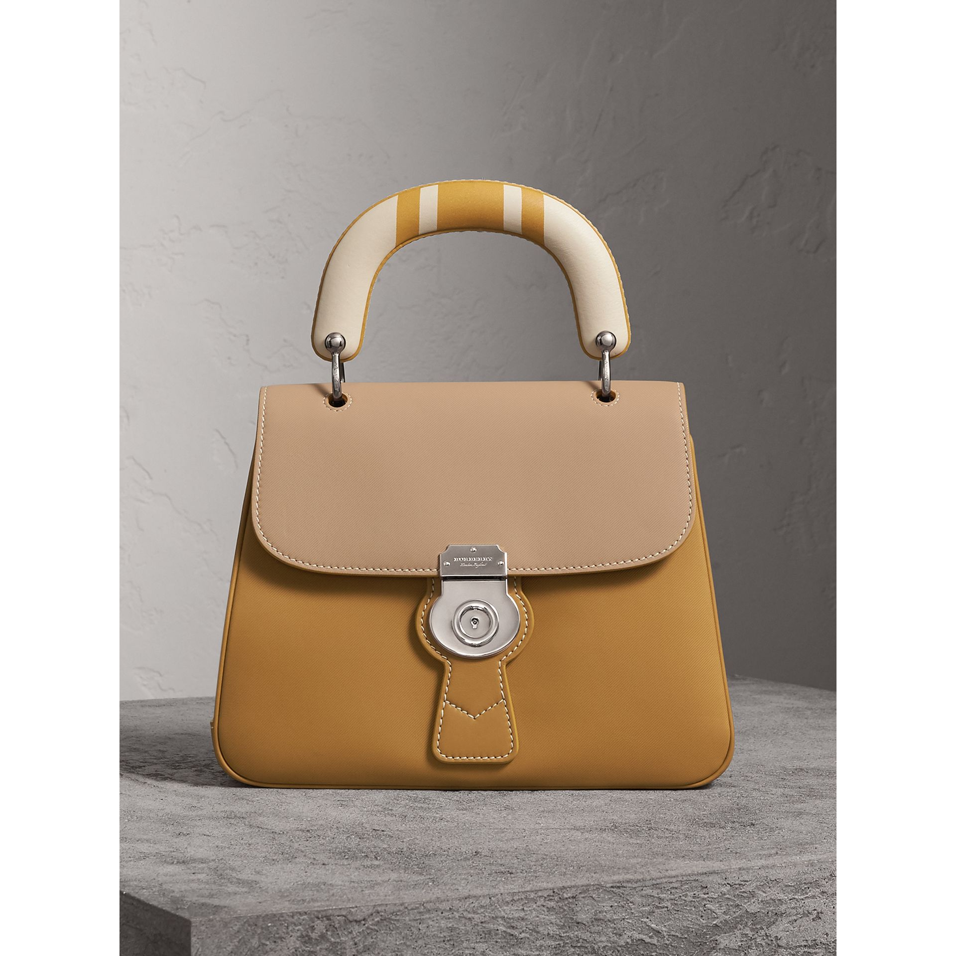 The Medium DK88 Top Handle Bag with Geometric Print in Ochre Yellow/honey - Women | Burberry Canada - gallery image 0