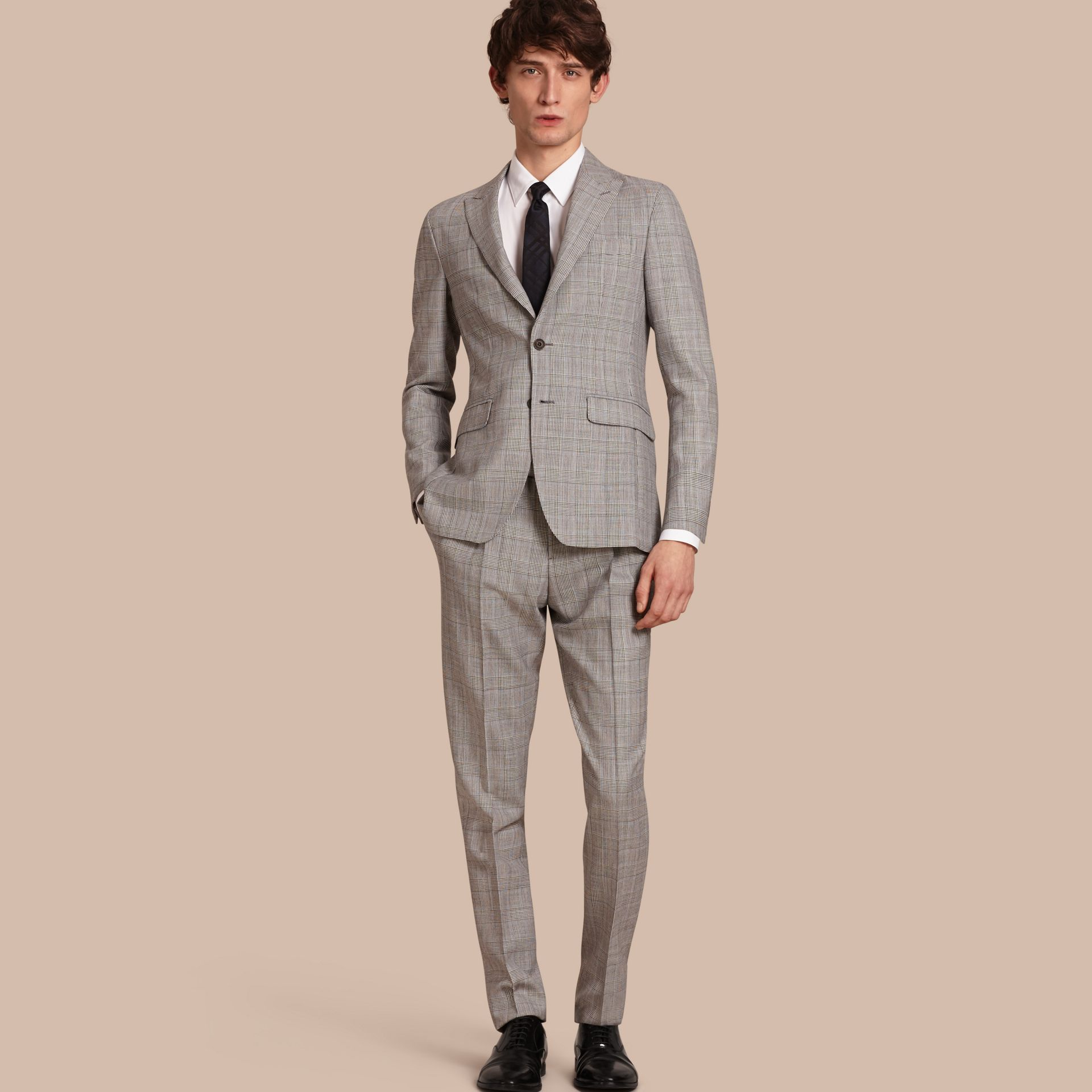 Pale grey Slim Fit Prince of Wales Check Wool Half-canvas Suit - gallery image 1