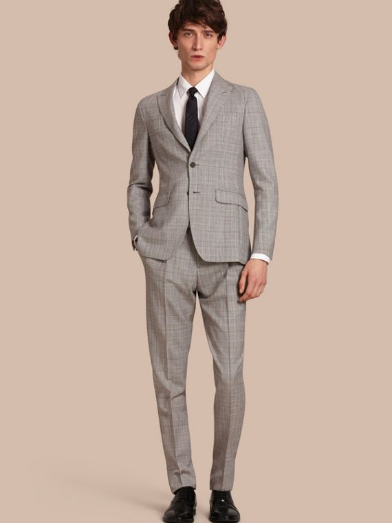 Slim Fit Prince of Wales Check Wool Half-canvas Suit