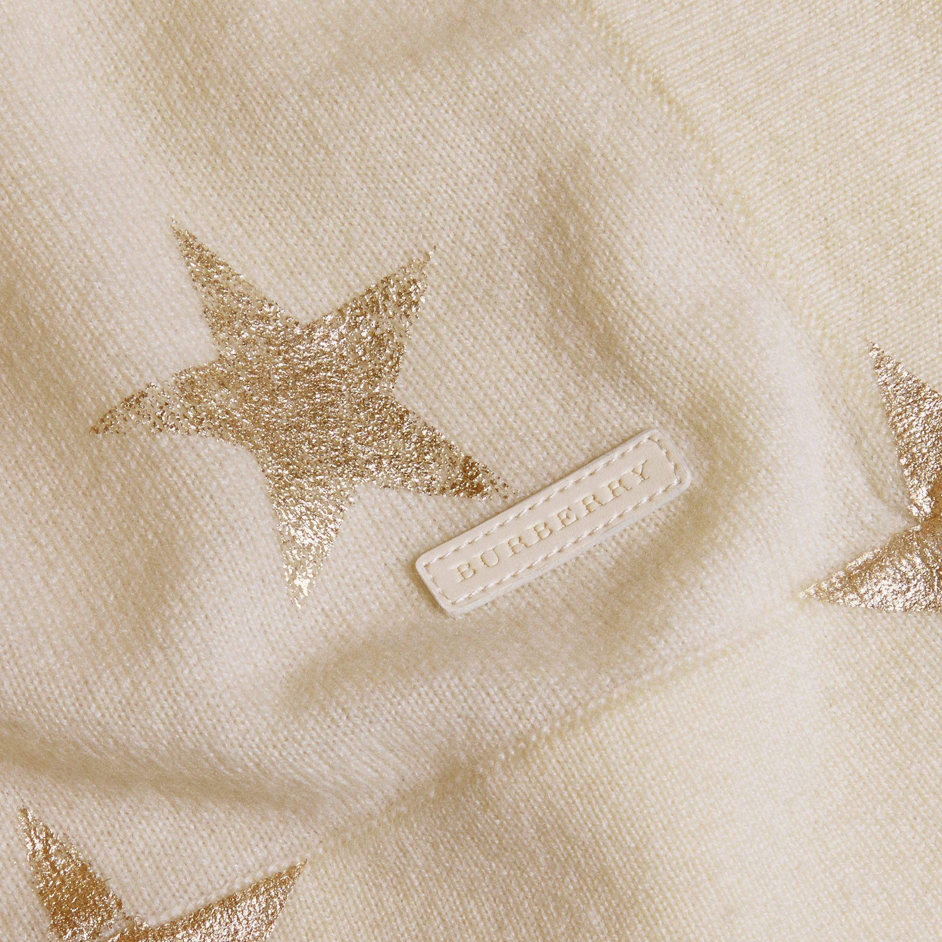 Ivory Star Print Check Cashmere Baby Blanket - gallery image 2
