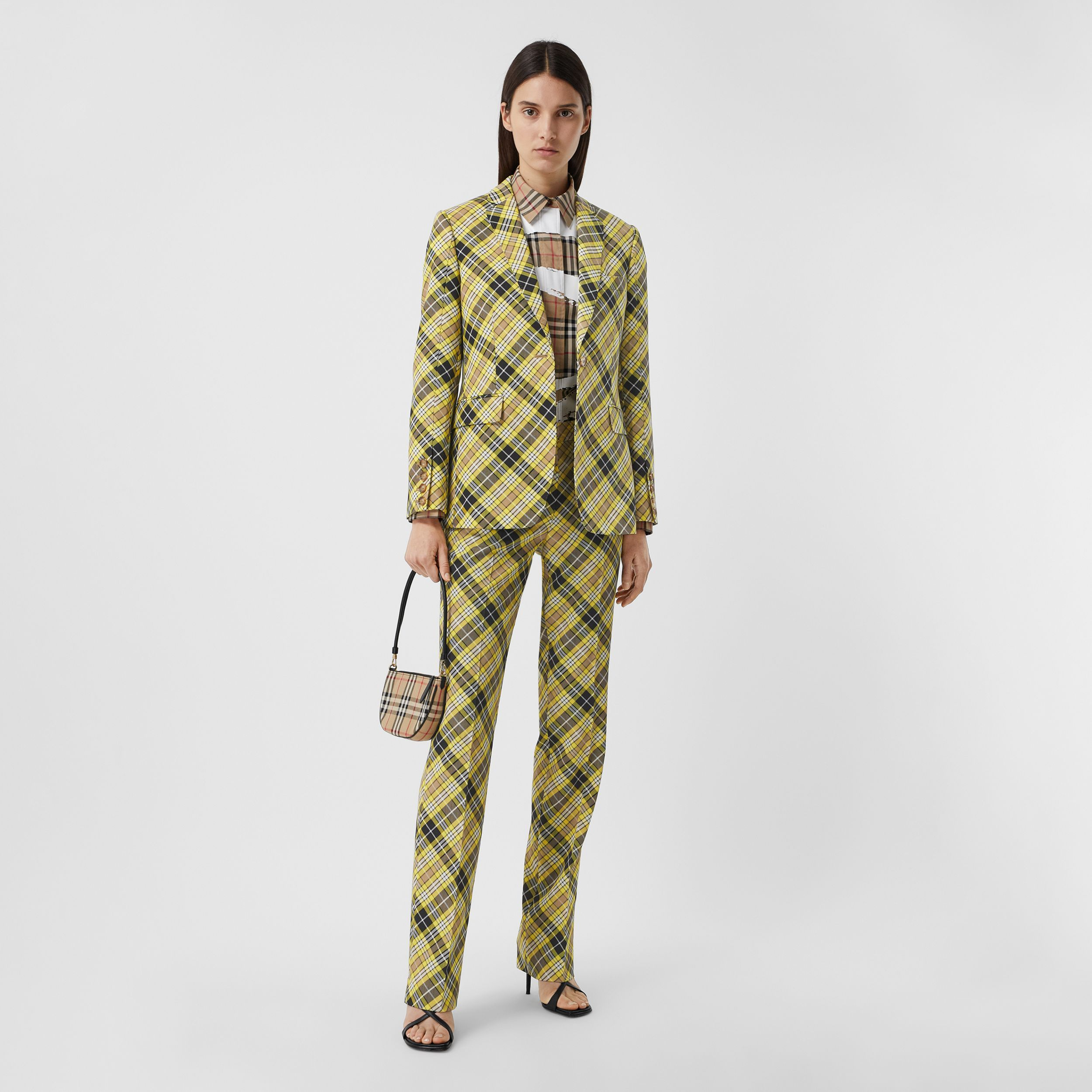 Check Technical Wool Tailored Jacket in Marigold Yellow - Women | Burberry - 1