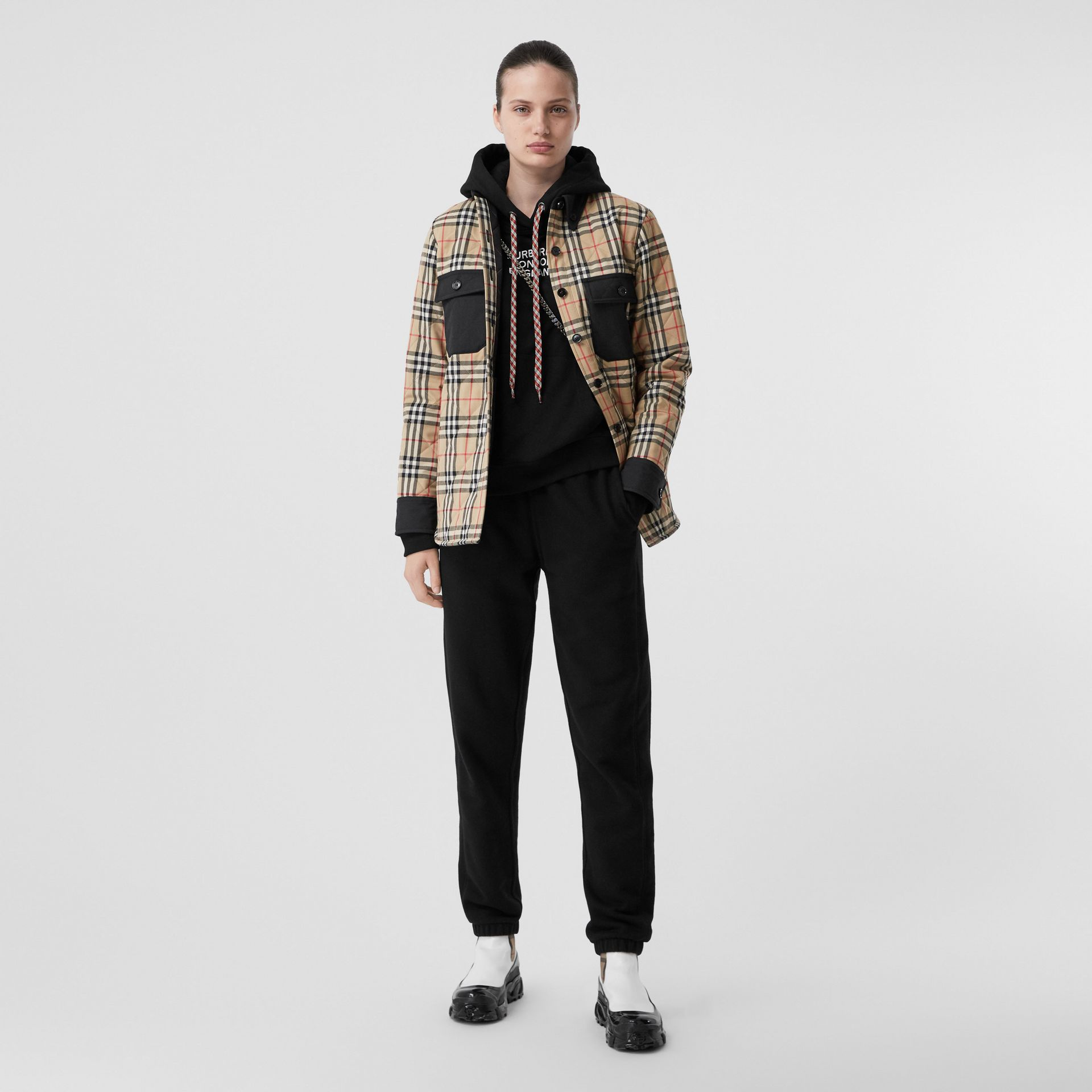 Vintage Check Wool Flannel Overshirt in Archive Beige - Women | Burberry United States - gallery image 0