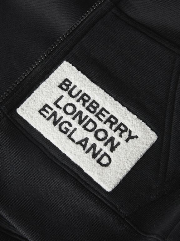 Logo Detail Jersey Hooded Top in Black | Burberry - cell image 1