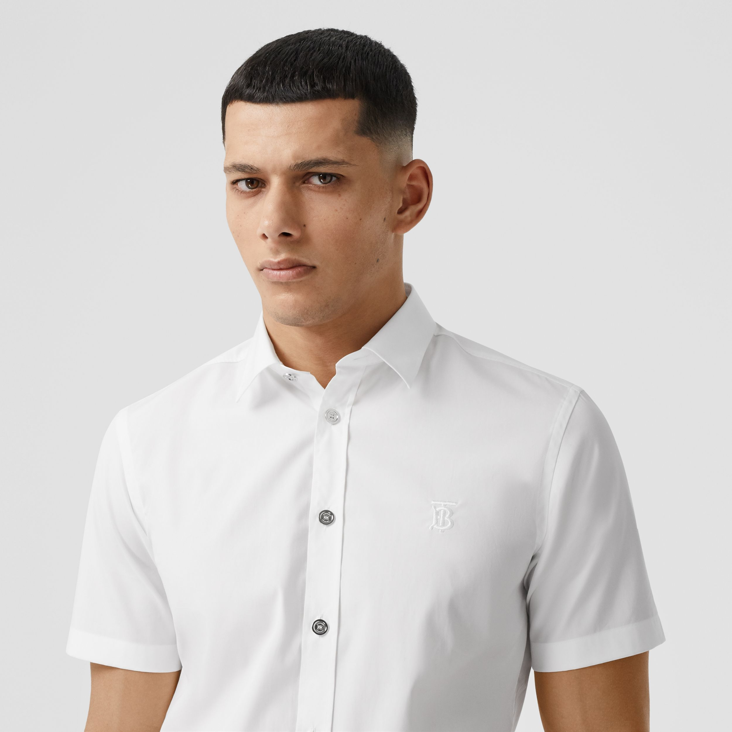 Short-sleeve Monogram Motif Stretch Cotton Shirt in White - Men | Burberry - 2
