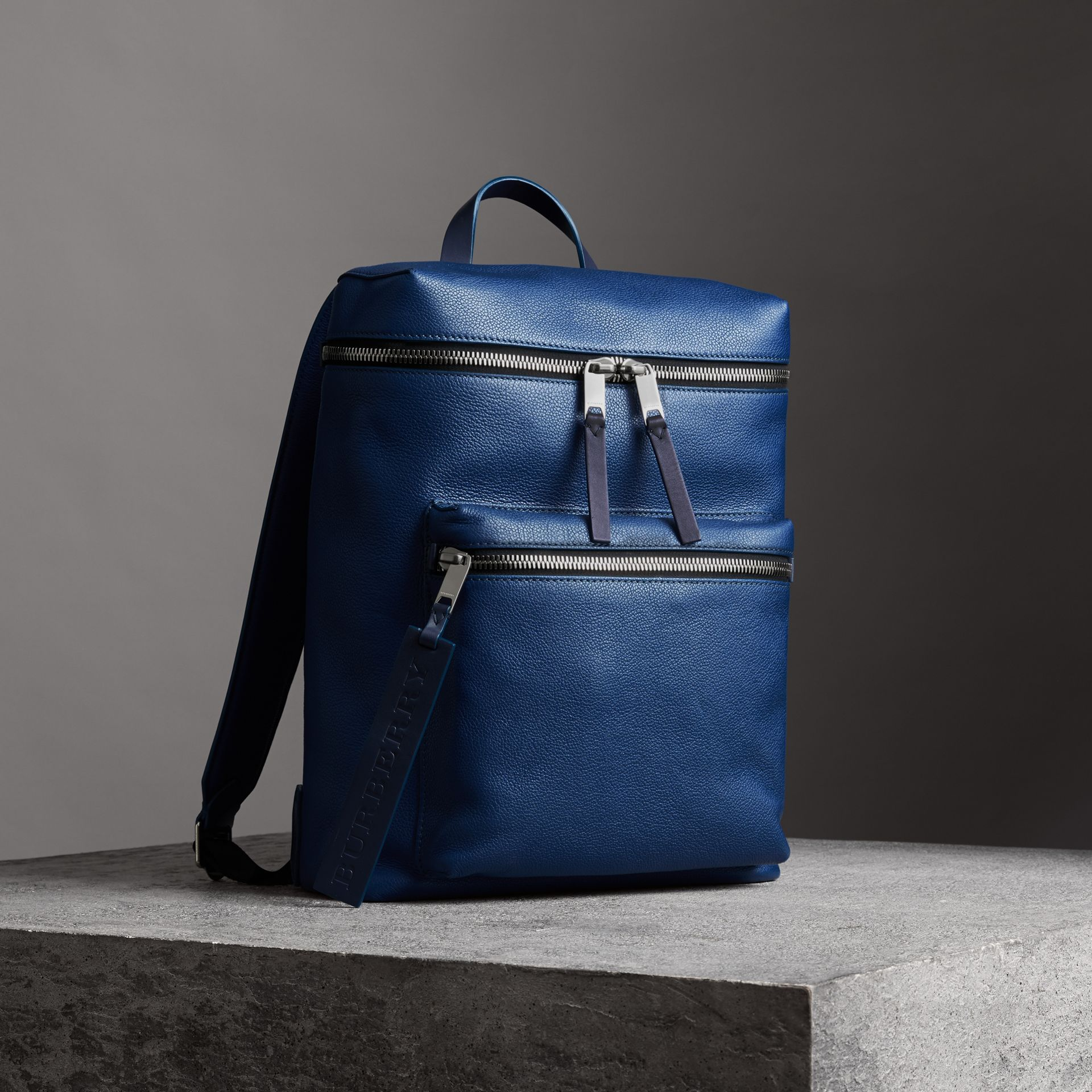 Zip-top Leather Backpack in Bright Ultramarine - Men | Burberry Australia - gallery image 6