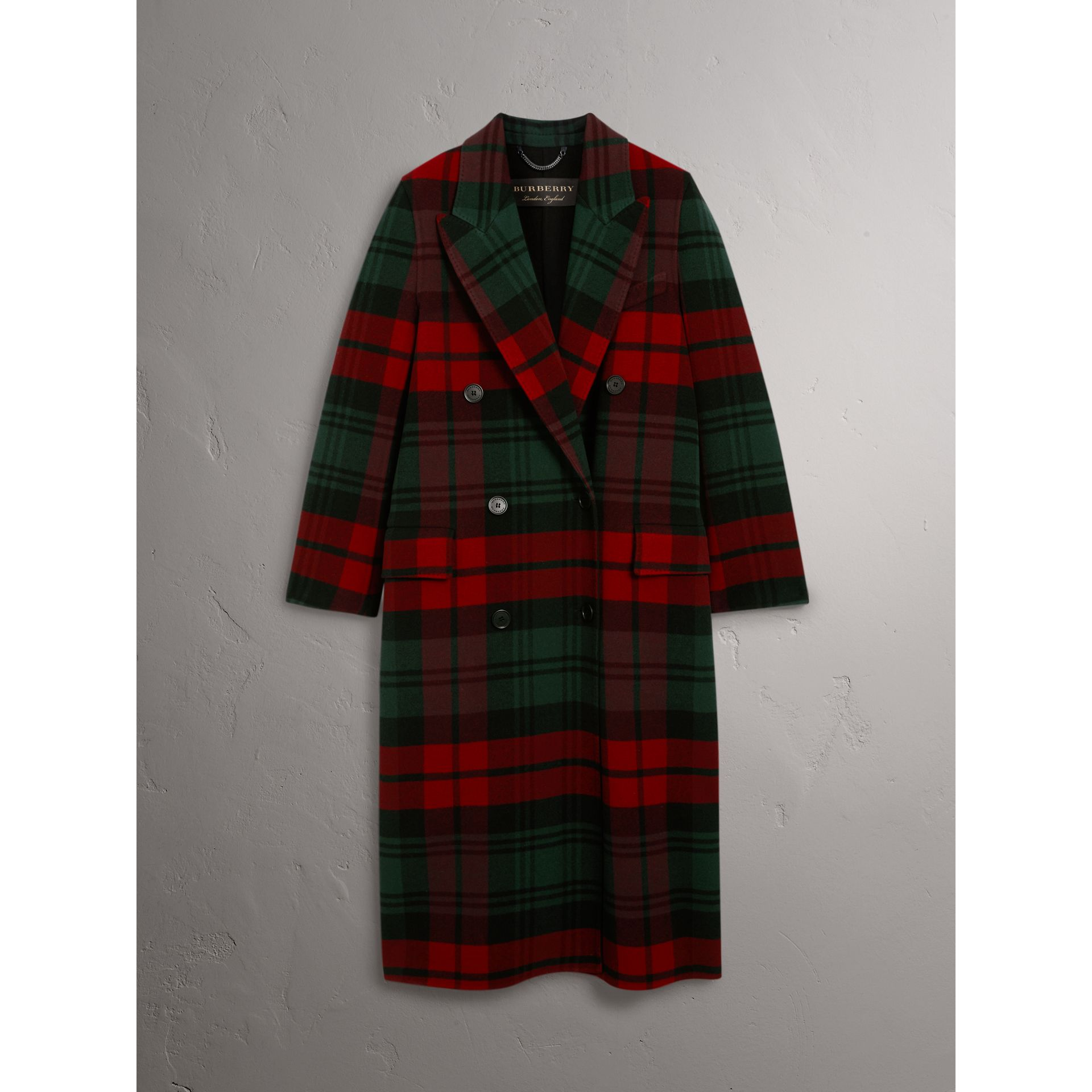 Tartan Wool Double-breasted Coat in Racing Green/dark Crimson - Women | Burberry - gallery image 4